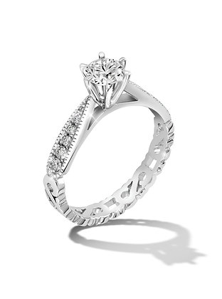 Carved Band Diamond Ring