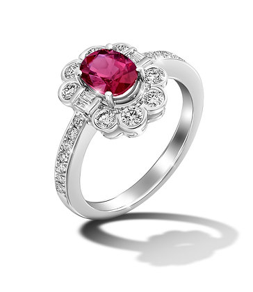 Classic Flower Halo Ruby Ring