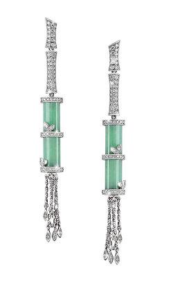 Green Jade Bamboo Tassel Earrings