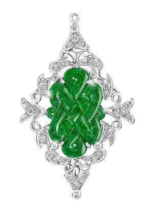 Nyonya Mystic Knot Jade Brooch
