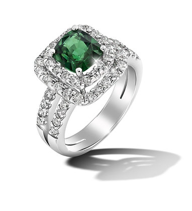 Square Double Halo Tsavorite Ring