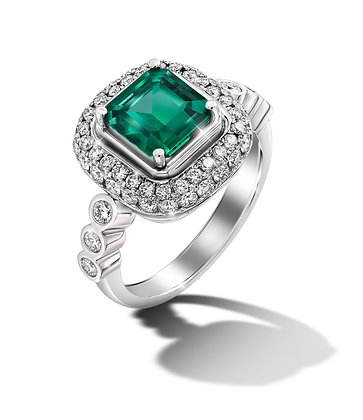 Square Double Halo Emerald Ring