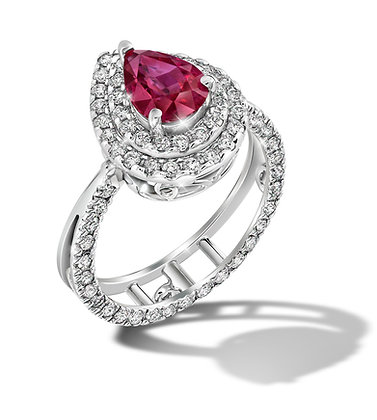 Tear Drop Double Halo Ruby Convertible Ring