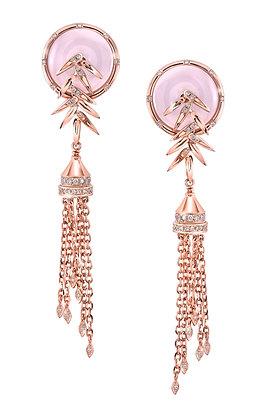 Lavender Jade Bamboo Tassel Earrings