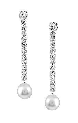 White Zircon and Pearl Dangling Earrings