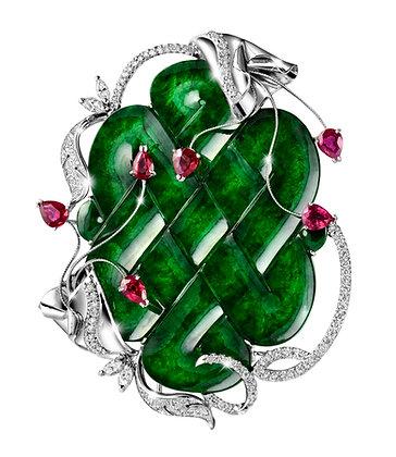 Jadeite Mystic Knot Brooch