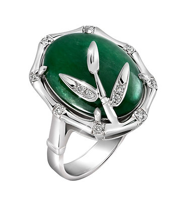 Oval Jade Bamboo Ring