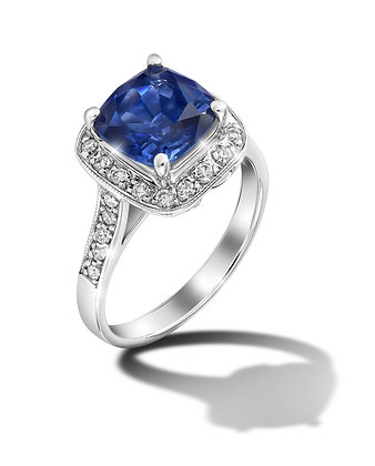 Square Halo Blue Sapphire Ring
