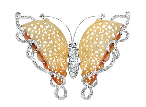 Brown Jadeite Butterfly Brooch