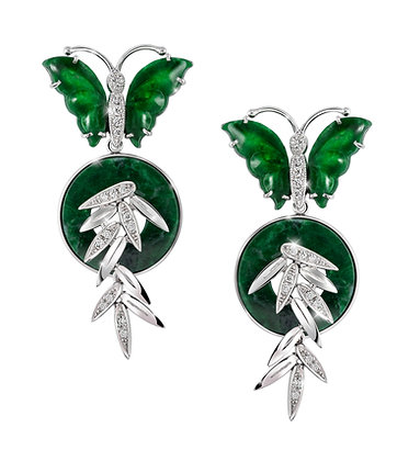 Butterfly Jade Bamboo Earrings