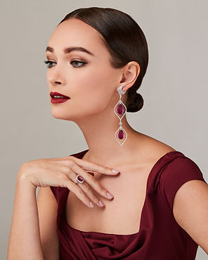 Model with Amee Philips chandelier Rubellite earrings