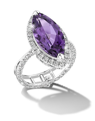 Amethyst Halo Convertible Ring