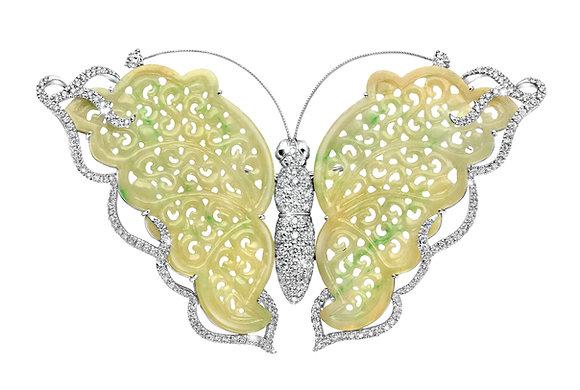 Pastel Jadeite Butterfly Brooch