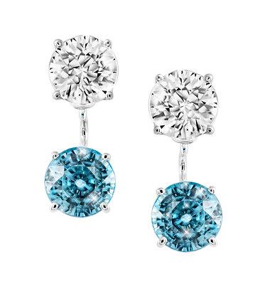 White and Blue Zircon Earrings