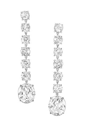 White Zircon Dangling Earrings