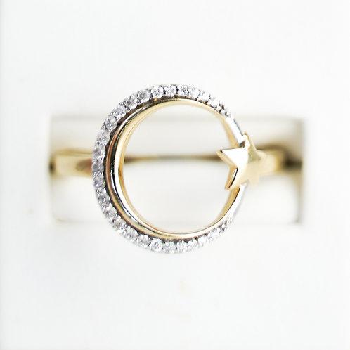 14K Polished Moon& Star Diamond Ring