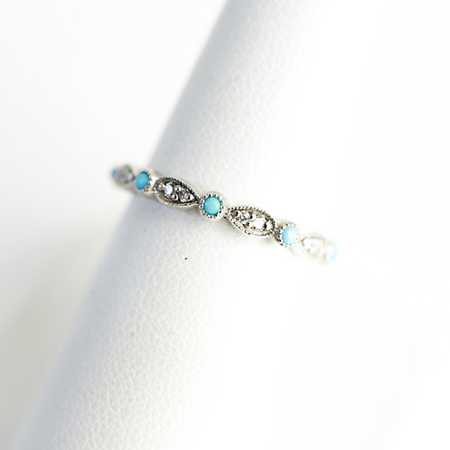 Stackable with Turquoise Accent White Gold Ring