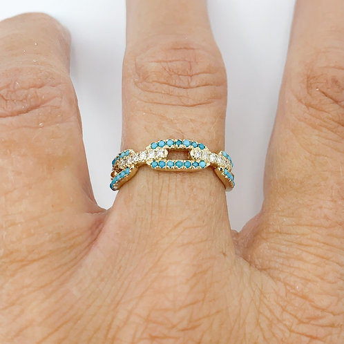 Turquoise & Diamond Chain Link Ring