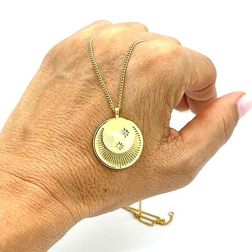 Moon & Star Medallion Necklace