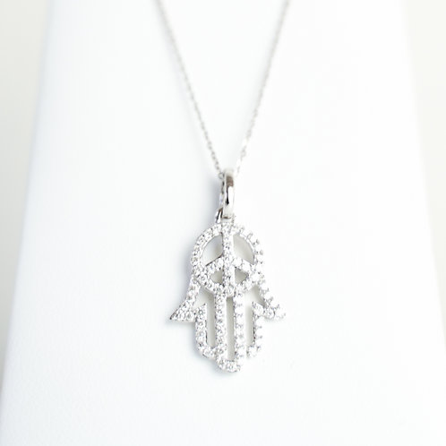 White Gold & Diamond Hamsa with Peace Symbol Center