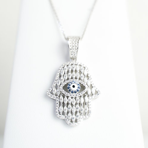 Sterling Silver Rhodium-Plated White & Blue CZ Hamsa Eye Pendant