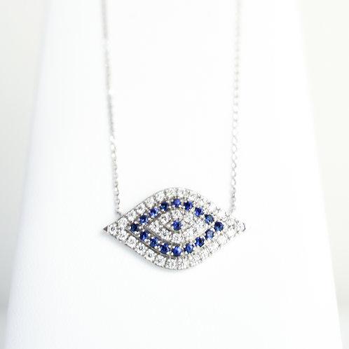 18K White Gold Diamond & Sapphire Evil Eye Pendant