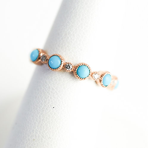 Turquoise & Diamond Stackable in Rose, Yellow or White Gold