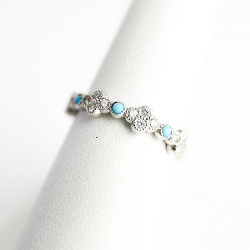 Stackable Diamond White Gold Ring with Turquoise Accent Stones