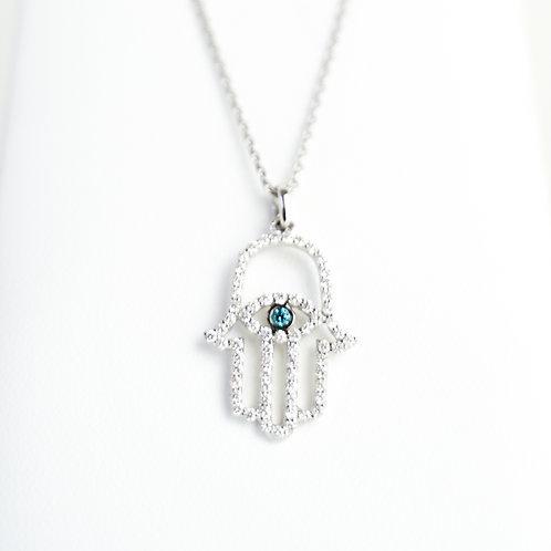 White Gold & Diamond Hamsa with an Evil Eye & Turquoise center