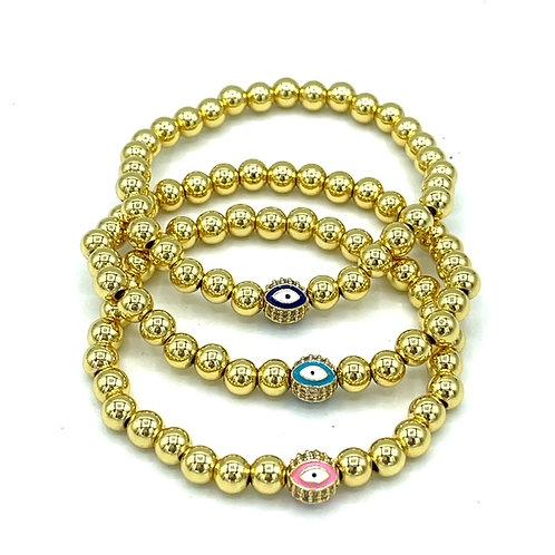 Single Gold Beaded Evil Eye Bracelet