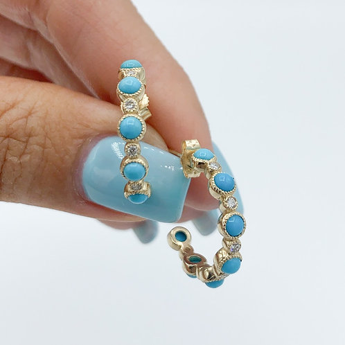 Turquoise & Diamond Huggie Earrings in Yellow, White or Rose Gold