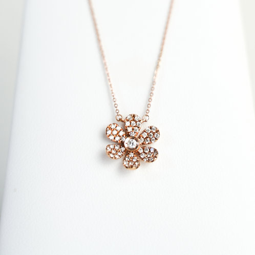 Rose Gold Diamond Flower Pendant