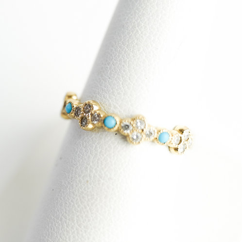 Stackable Diamond Gold Ring with Turquoise Accent Stones