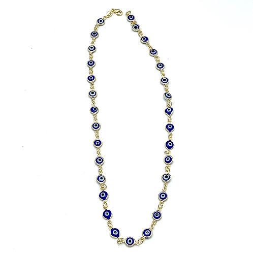 Gold & Blue Multi Evil Eye Necklace