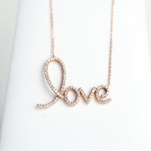 Rose Gold & Diamond Signature Love Pendant