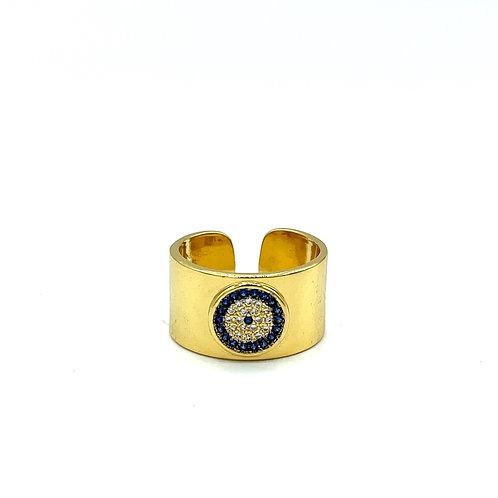 Blue & Gold Evil Eye Ring
