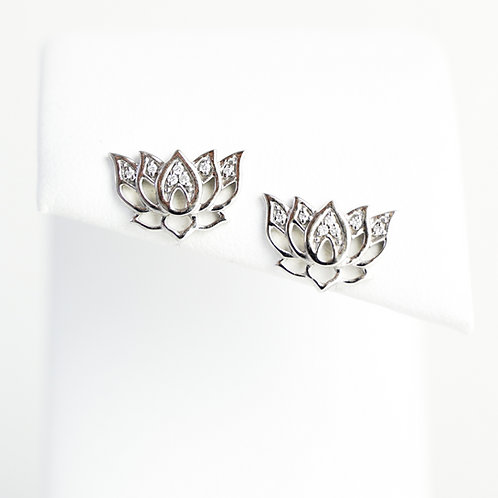 14K White Gold Diamond Lotus Flower Earrings