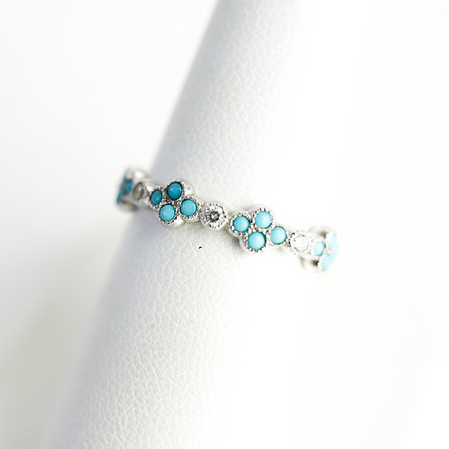 Stackable Turquoise & Diamond White Gold Ring
