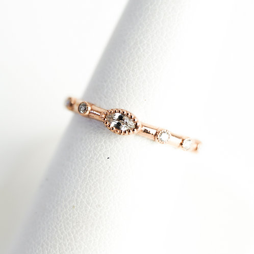 Stackable Diamond Ring with Diamond Center Stone