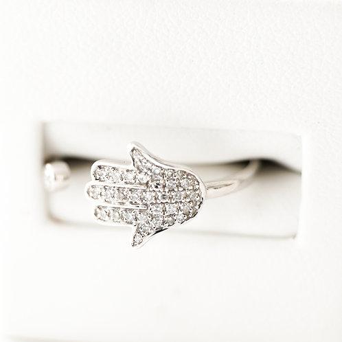 18K White Gold Diamond Hamsa Ring