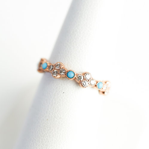 Stackable Diamond Rose Gold Ring with Turquoise Accent Stones