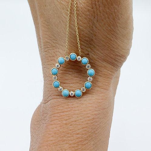 Turquoise & Diamond Full Circle Necklace