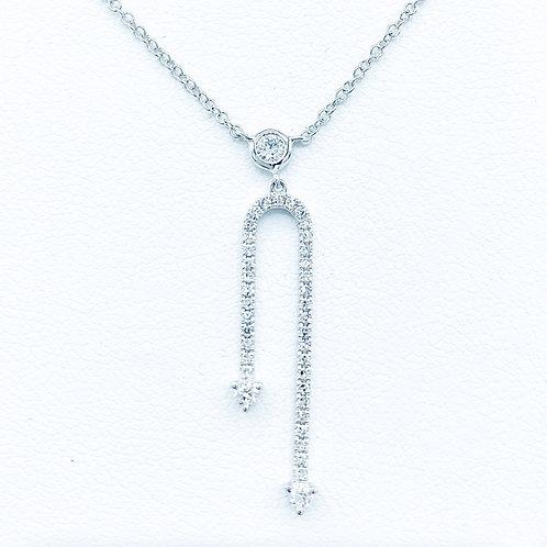 Double Arrow Diamond  & White Gold Necklace