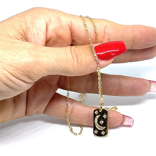 Small Moon & Star Pendant Necklace