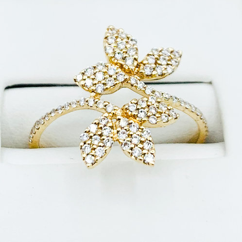 Golden Leafs Wrap Around Diamond Ring
