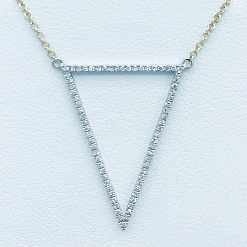 Diamond and Yellow Gold Triangle Necklace