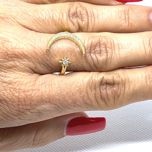 Gold Moon Crest & Star Ring
