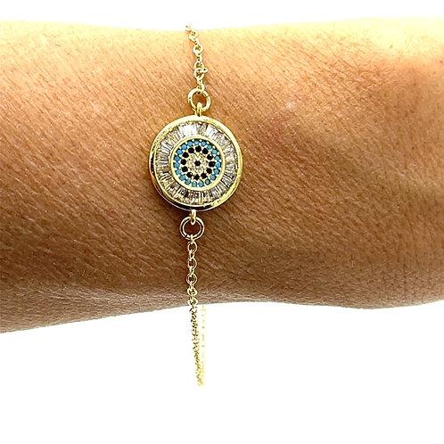 Gold Evil Eye Multi CZ Bracelet