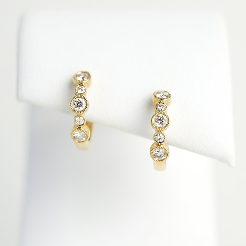 14K Yellow Gold Diamonds Huggies