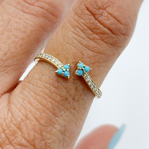 Turquoise & Diamond Dbl Arrow Ring